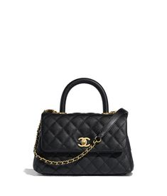 cd011d381c44 Grained Calfskin   Gold-Tone Metal Black Small Flap Bag with Top Handle