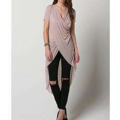 """""""The Poet"""" Draped Front High Low Top Beautiful faux wrap, draped front top. Perfect with pants, leggings or denim. Flowy, Bohemian look. This listing is for the HAZELNUT top. Also available in black. Brand new without tags. Junior sizing true to size. Bare Anthology Tops"""