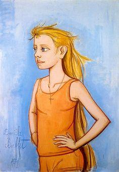 Bernard Buffet Danièle de profil fond bleu - 1971 oil on canvas - 130 x 89 cm