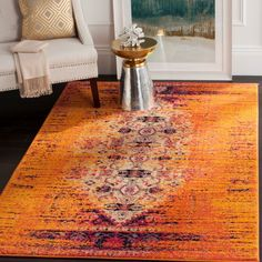 Hydra Machine Woven Orange Area Rug