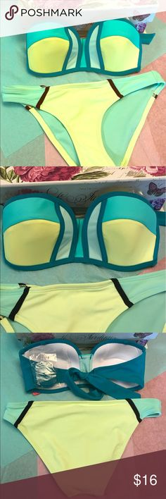 NWT Aqua Halter Bikini Brand new with tags never worn! Women's swim wear is 4 individual pieces for $25 or 2 individual pieces for $15. You can mix and match styles and sizes just let me know and I will help you as soon as I can. If you need help shopping I am here also :) the top and bottoms come together if you purchase this listing, both the same size. Fast shipping, top rated seller. Suggested for Sizes 3-5 32B/34A. I have more Sizes in the top and bottoms just ask and I will tell you…