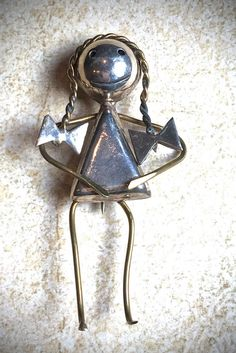 Mexican silver girl pin brooch by JNPVintageJewelry on Etsy