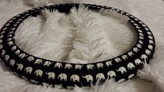 A Favorite  Elephants White on Black  Steering by SylMarCreations on Etsy