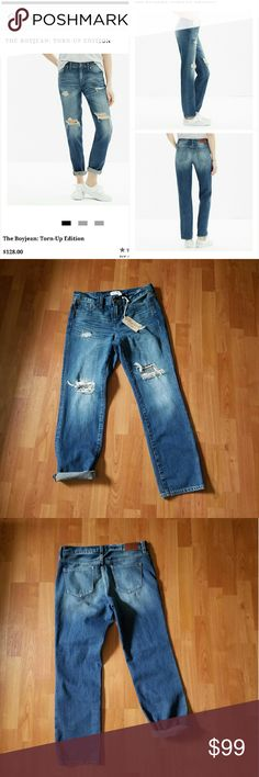 """NWT Madewell distressed """"boy jean"""" NWT Boy Jean Size 26  Currently sold out on Madewell website  Can be rolled or worn as cropped jeans Open to REASONABLE OFFERS. PLEASE NO LOWBALLING. Madewell Jeans"""