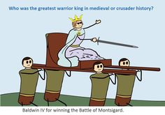 Who was the greatest warrior king in medieval or crusader history? Baldwin IV for winning the Battle of Montsigard.