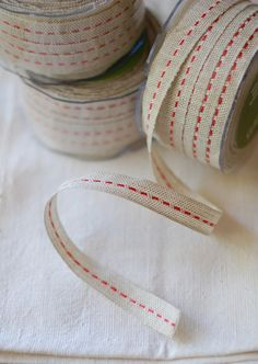 30 Yard Spool of Ribbon - Natural Jute with Red Stitching