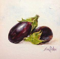 Oil Painting of Eggplants Original Art by Nina by NinaRAideStudio