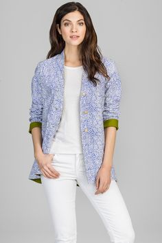 Our Reagan jacket in blue/white. Fun pop of color on the sleeves. www.amayatextiles.com
