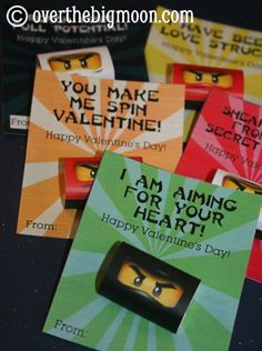 Free Ninjago Valentine's Printable - 6 Printable Valentines and Mini Candy Bar Wrappers!