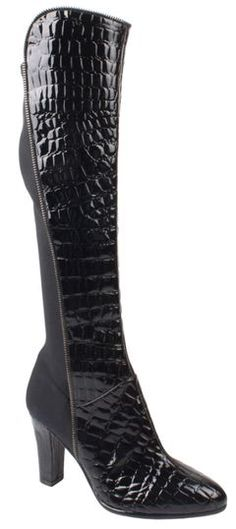 Stylish and elegant black crocodile print patent boot with nylon stretch fabric at rear.  20cm side zip to help with fitting.
