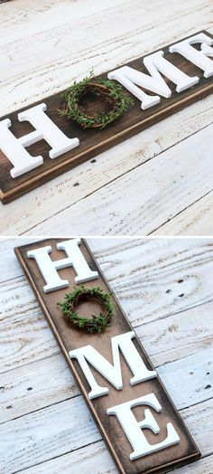Dark Wood Home sign, Farmhouse Decor, vertical sign, mantle decor, Housewarming gift, entryway, wedding gift, spring decor, modern farmhouse DIY with Dollar World letters