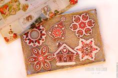 Купить Набор елочных украшений в цветах имбирного пряника - имбирный пряник, имбирный домик