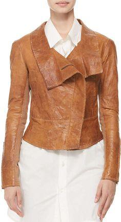 Donna Karan Topstitched Leather Jacket    |  @kimludcom