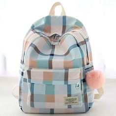 New Lattice School Bag Grid Large College Canvas Backpack - Bag Pretty Backpacks, Cute Backpacks For School, Stylish Backpacks, College Backpacks, Teen Backpacks, Leather Backpacks, Leather Bags, Cute Girl Backpacks, High School Bags