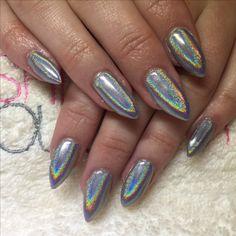 Lecente Rainbow Powder over CND Shellac Silver Chrome