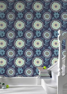 Amy Butler Wallpaper - Lacework pattern, Midnight palate. Marie does complimentary. What about analogous?