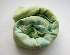Cotton scrim hand dyed in greens pistachio to spring green