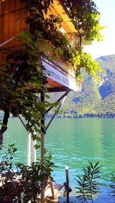 A restaurant terrace on lake Lugano - Gandria, Ticino, Switzerland