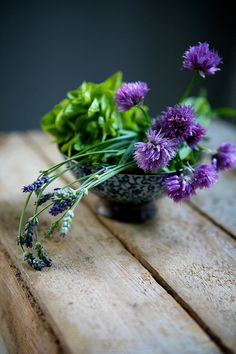 Rooftop Green Salad with Chive Blossoms & Herbs | Flickr - Photo Sharing!