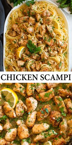 Chicken Scampi - a super simple chicken recipe that packs rich and buttery decadence, rounded by complex wine flavor, along with hints of bright lemon, and plenty of freshness from the garlic. It's such a satisfying dish! #chicken #scampi #recipe #dinner #pasta Chicken Pasta Recipes, Baked Chicken, Healthy Chicken Scampi Recipe, Chicken Scampi Recipe Without Wine, Simple Chicken Recipes, Simple Dinner Recipes, Different Chicken Recipes, Garlic Chicken Pasta, Pasta Dinner Recipes