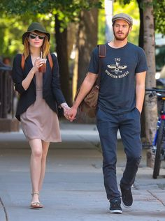 Emma Stone and Andrew Garfield Give Us Some Movie-Worthy PDA: Emma Stone and Andrew Garfield stepped out together in NYC on Monday, and they weren't shy about hand-holding and showing adorable PDA.
