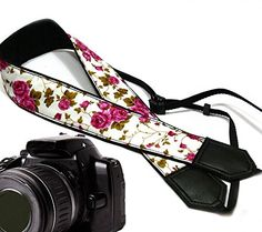 InTePro Flower camera strap. Purple roses camera strap DSLR / SLR. Black floral Camera Strap. Vintage botanical camera strap. Durable, light weight and well padded camera strap. code 00060 -- Be sure to check out this awesome product. (This is an Amazon Affiliate link)