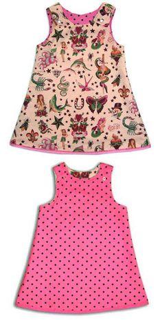 Punk Rock Baby Reversible Dress: Tattoo Pink My Little Baby, Baby Love, Baby Girl Fashion, Kids Fashion, Punk Rock Baby, Gothic Baby, Rockabilly Baby, Reversible Dress, Baby Tattoos