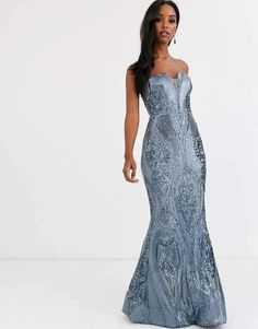 Bariano bandeau fitted sequin gown in antique blue at ASOS. Shop this season's must haves with multiple delivery and return options (Ts&Cs apply). Sequin Gown, Sequin Mini Dress, Going Out Dresses, 15 Dresses, Pretty Dresses, Evening Dresses, Kimono Dress, Strapless Dress Formal, Party Dress