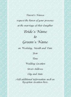 Wedding Invitations: Aqua Blue Speechless