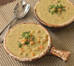 """""""This lightly spiced Creamy Curry Chickpea Soup is easy to make and can be cooked from scratch in less than 30 minutes. The soup is healthy, comforting, and perfect with fresh, crusty bread or warm naan. It is dairy free, yet unbelievably rich and cr Easy Soup Recipes, Whole Food Recipes, Vegetarian Recipes, Cooking Recipes, Supper Recipes, Healthy Recipes, Detox Recipes, Chili Recipes, Cooking Tips"""