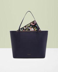470cdcffb34504 Crosshatch leather shopper bag - Dark Blue