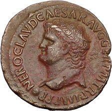 NERO 65AD Lugdunum VICTORY GODDESS Genuine Authentic Ancient Roman Coin i54744