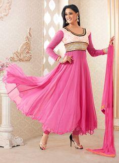 Pink Shweta Tiwari Georgette Anarkali Suit