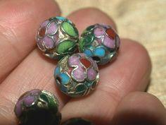 Vintage 6 Sided Purple /& Blue Enamel Asian Beads 6 Beads