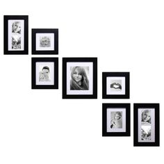 Adeco Decorative Black Wood Wall Hanging Photo Frame Set with Mat (Black,), Size (MDF) Picture Frame Layout, Wall Collage Picture Frames, Wall Hanging Photo Frames, Hanging Pictures, Picture Wall, Frames On Wall, Collage Pictures, Collage Ideas, Black Picture