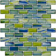 1x2 Inch Transparent Blue and Green Mix Glass Subway Tile - Beautiful subway tile with swirls of green and blue has a stained glass look! This is perfect for a bathroom or even in a pool! $19.99 #mosaic #backsplash