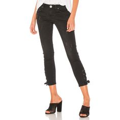 One Teaspoon Tie Side Freebirds II (186 AUD) ❤ liked on Polyvore featuring jeans, white ripped jeans, white torn jeans, white distressed jeans, destructed jeans and destruction jeans