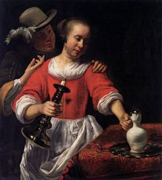 BISSCHOP, Cornelis  [Dutch Baroque Era Painter, 1634-1674] A Young Woman and a Cavalier 1661-63