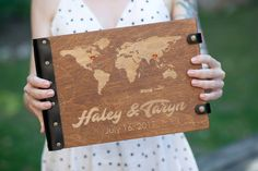 This is the perfect guestbook for the couple who loves to travel together! | Our Adventure Guest Book | Wedding Album Map Guest Book | Travel Themed Wedding Ideas | Unique Guest Book | Personalized Guest Book | Travel Wedding Theme | Our Adventure Begins | #guestbook #weddingguestbook