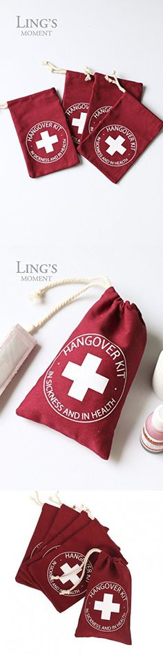 Ling's moment Christmas-themed Hangover Kit Favor Bags, Party First Aid Kit Bags for New Year, Christmas, Sports etc. 4 x 6 Inch, 10 Pcs