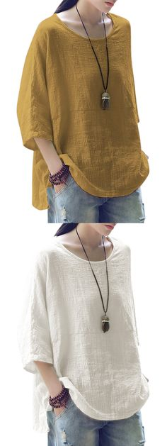 Vintage Loose Pure Color 3/4 Sleeves Baggy Shirts