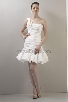 One shoulder short dress-Make your dream wedding dress come true, we'll make it for you at Www.DreamDress.co/custom
