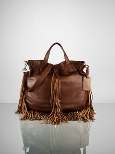 Fringe leather Ralph Lauren tote