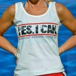 """Yes I Can"" tank in vibrant red/white/black looks super cute with a bright red hair tie/headband! At www.BarefootAC.com."