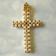 vintage gold and pearl woven beads cross pendant by smallandmousey