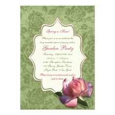 Discount DealsGreen Pink Ivory Rose Damask Garden Party Invitewe are given they also recommend where is the best to buy