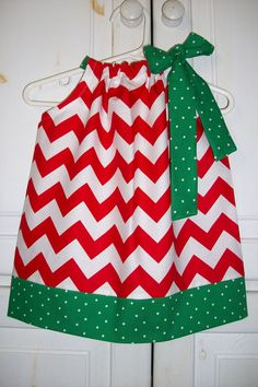 Christmas Pillowcase Dress CHEVRON and DOTS Red Green baby toddler girl Holiday by Little Sweetie Boutique. $19.99, via Etsy.
