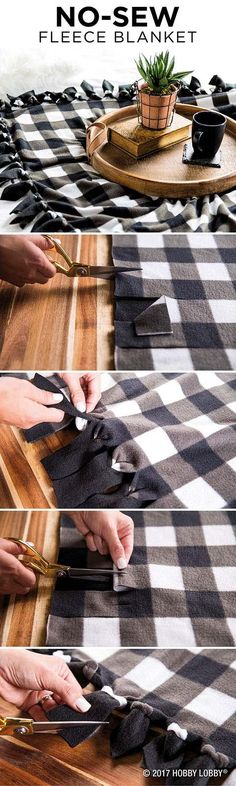 Cozy up to fall with a snug, no-sew fleece blanket!