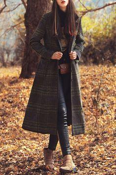 Long Tartan Flare Coat