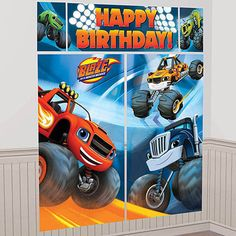 Are you having a Blaze and the Monster Machines theme party? Transform plain walls into the Monster Dome with a Blaze and the Monster Machines Scene Setter! This set of single-sided plastic posters fe